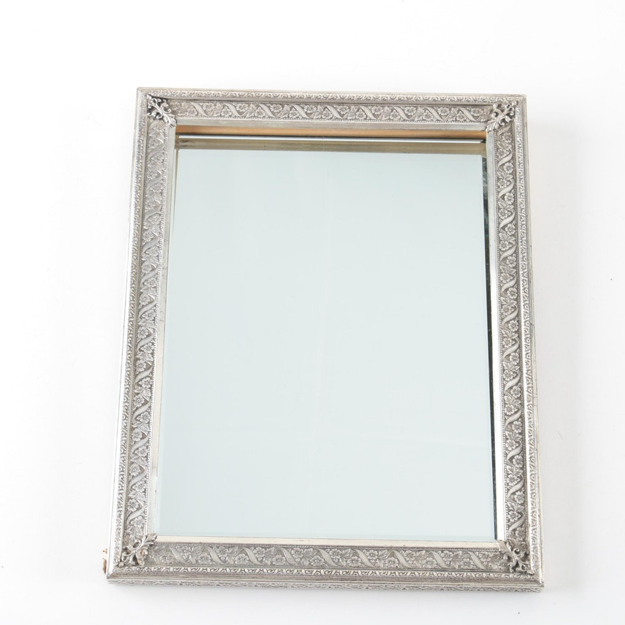 Free Standing Desk Mirror with Silver Plate Floral Frame : EBTH