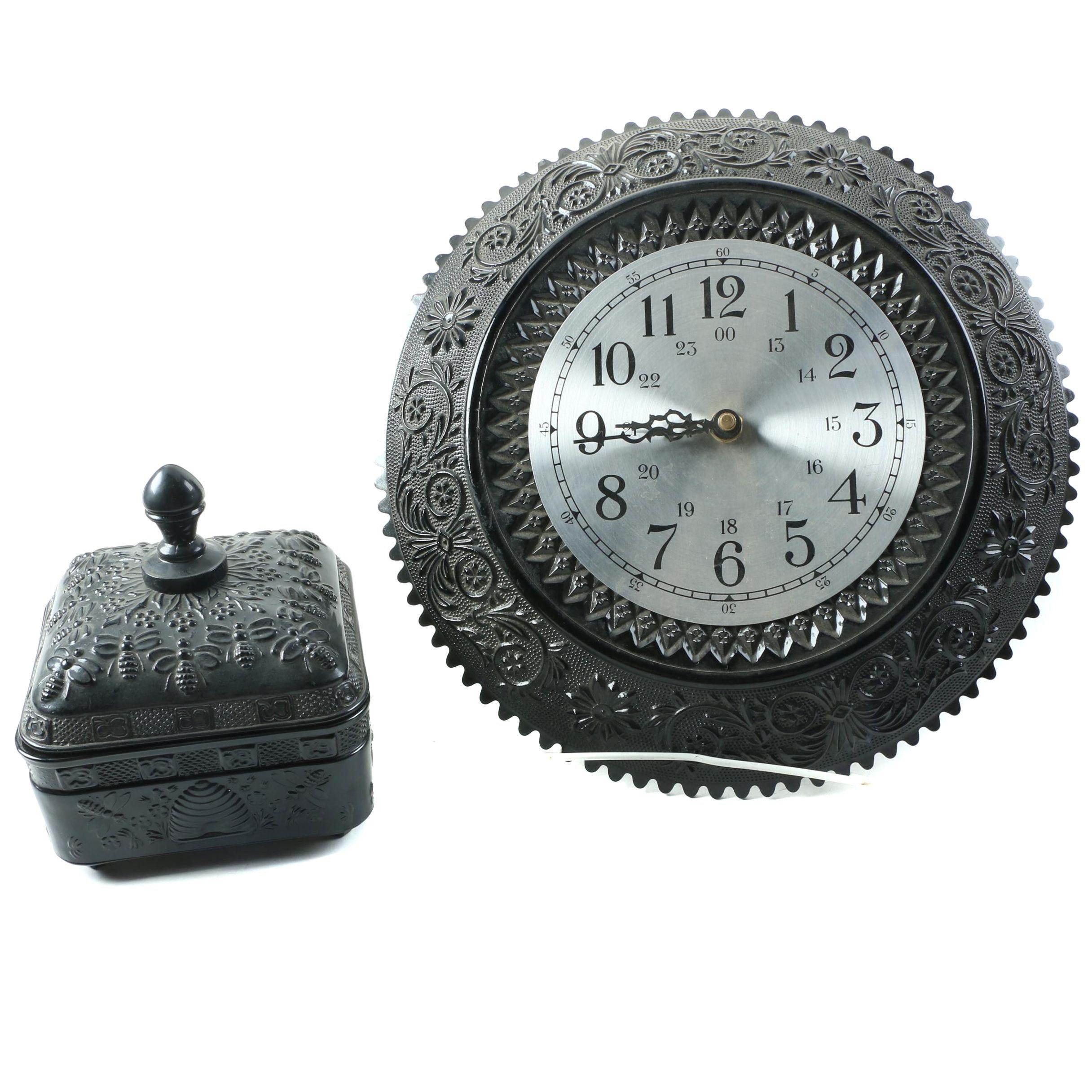 Decorative Glass Wall Clock and Box