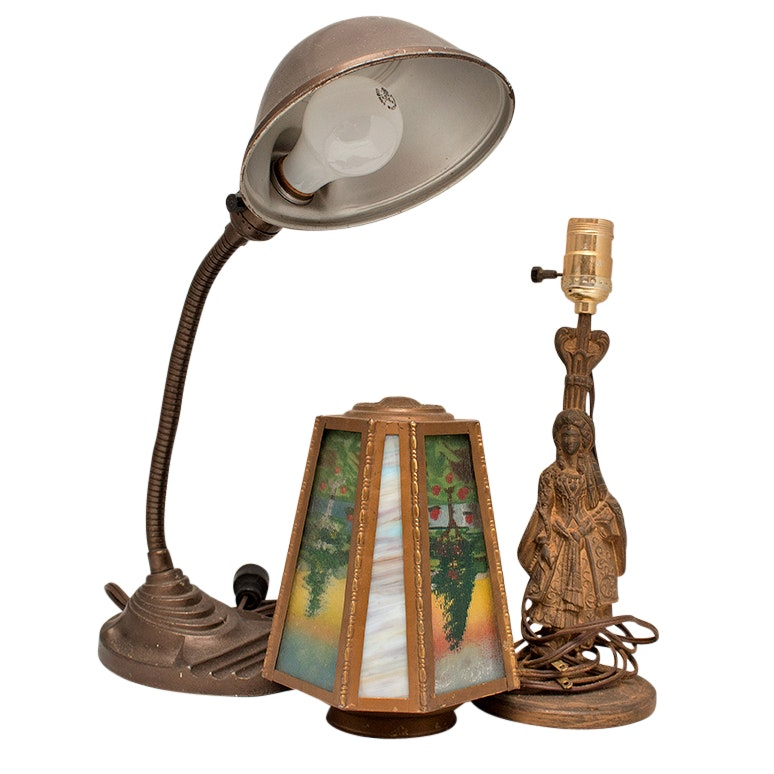 Vintage Eagle Lamps And Reverse Painted Glass Shade ...