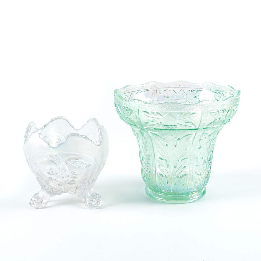Imperial Glass White And Ice Green Carnival Glass Ebth