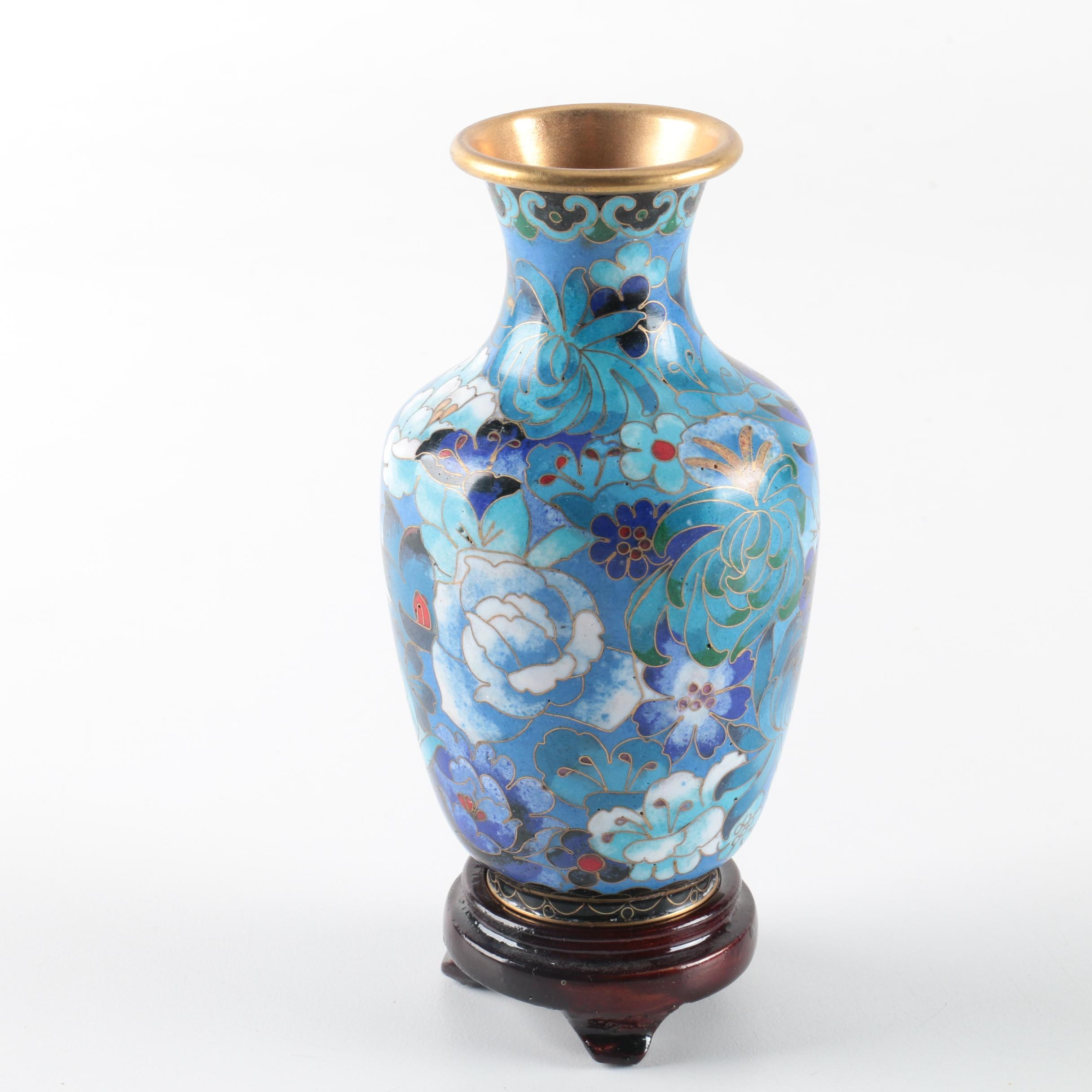Chinese Cloisonne Vase on Wooden Stand