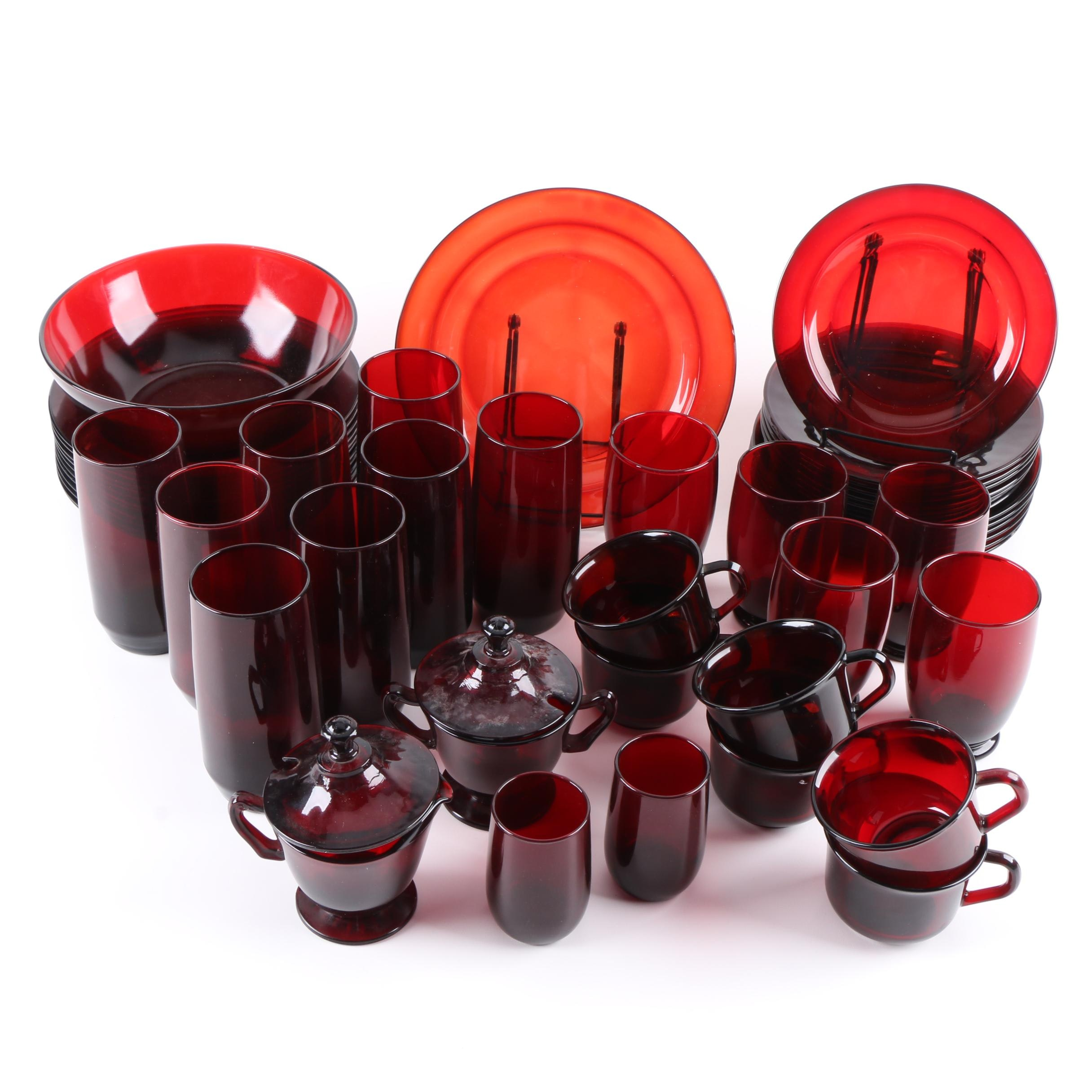 Ruby Glass Tableware Including Arcoroc