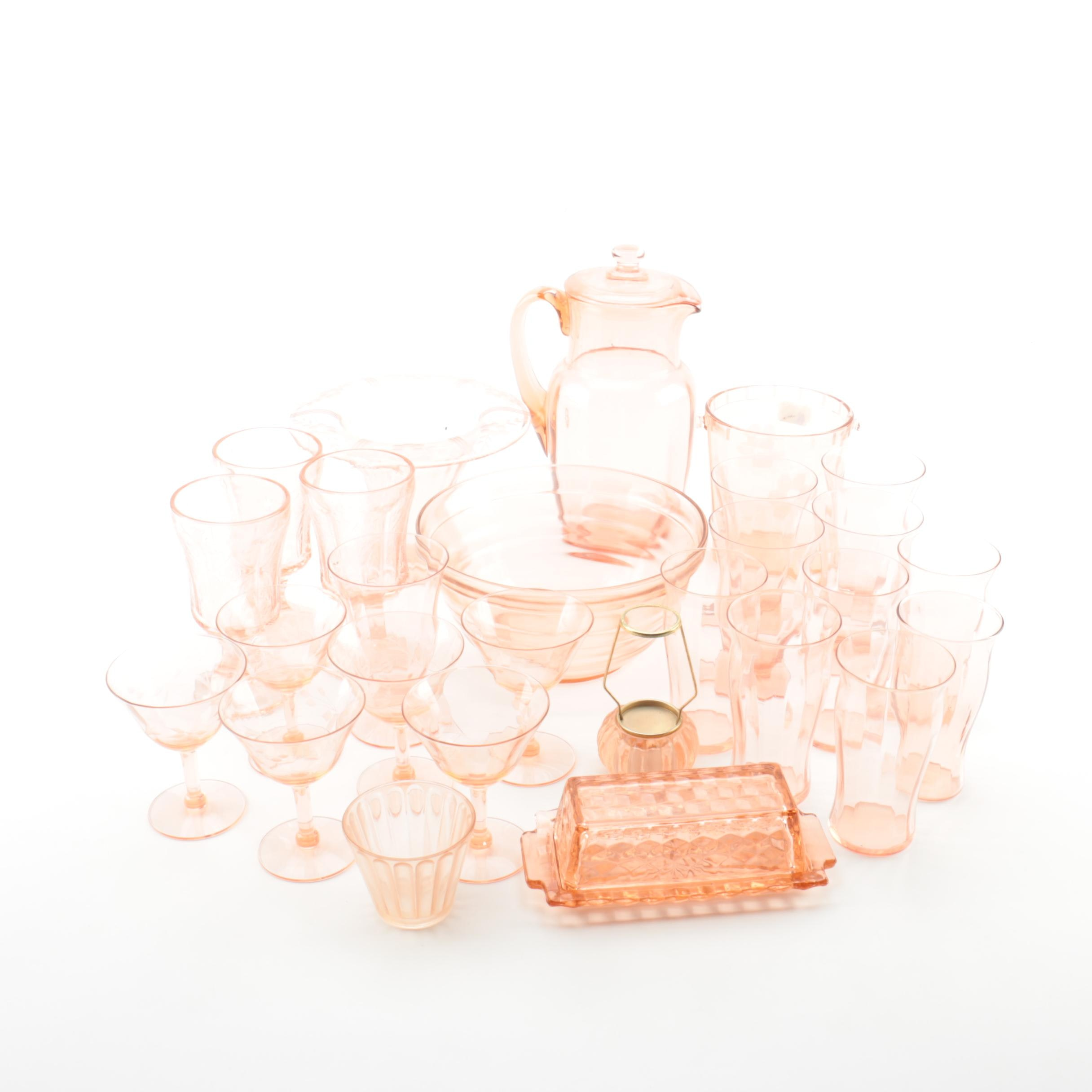 """Pink Depression Glass Including Federal Glass """"Madrid Pink"""" Goblets and More"""