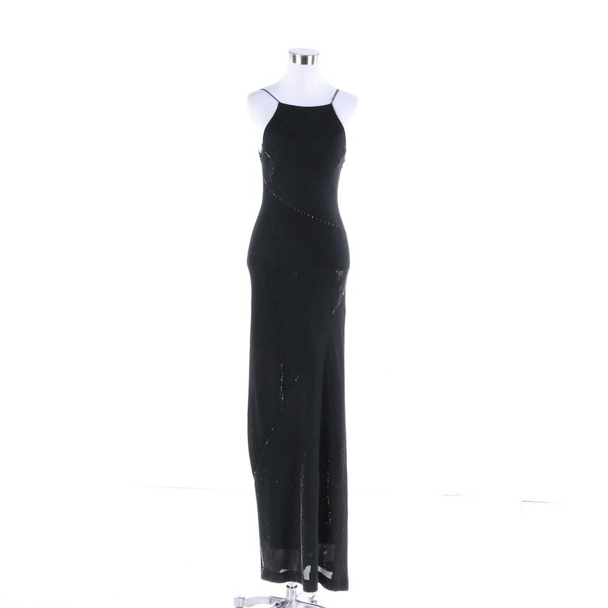 Vintage De Laru by Sheila Yen Black Bias Cut Evening Gown : EBTH