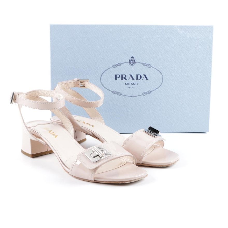 Prada Turn Lock Beige Patent Leather Sandals   EBTH