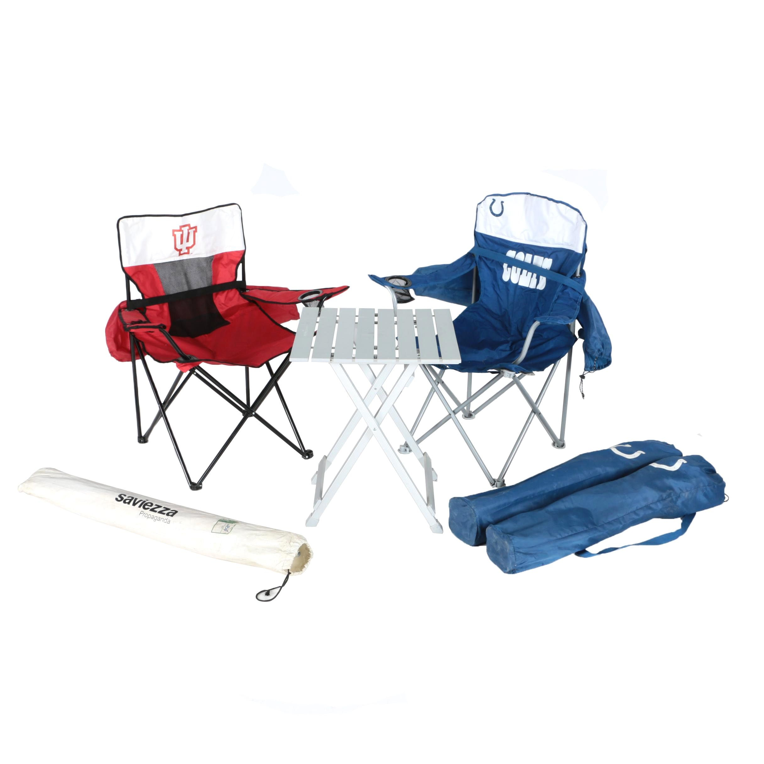 Colts Tailgate Chairs With Table And Umbrellas | EBTH