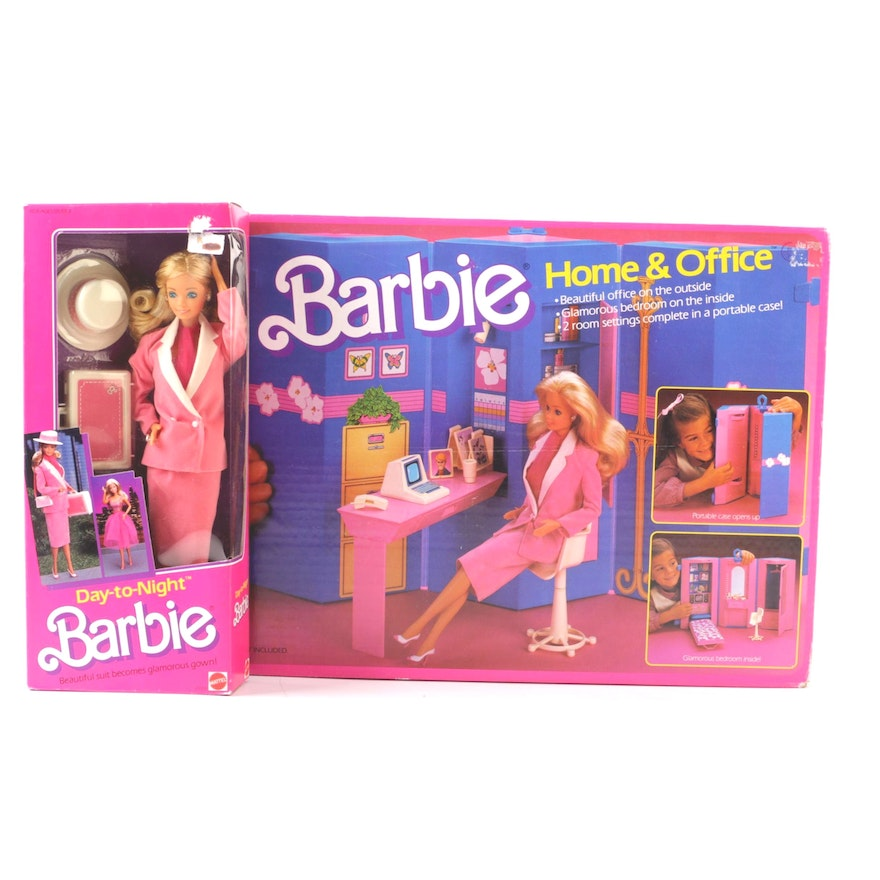 1984 Mattel Day To Night Barbie And Home Office Play Set Ebth