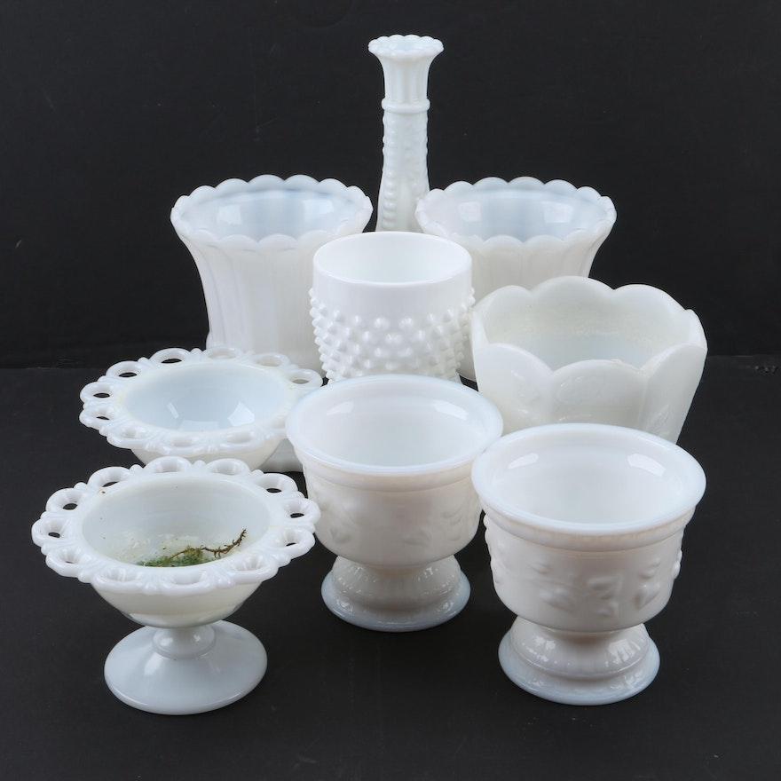 Milk Glass Vases Including Anchor Hocking Vintage Milk Glass Vase