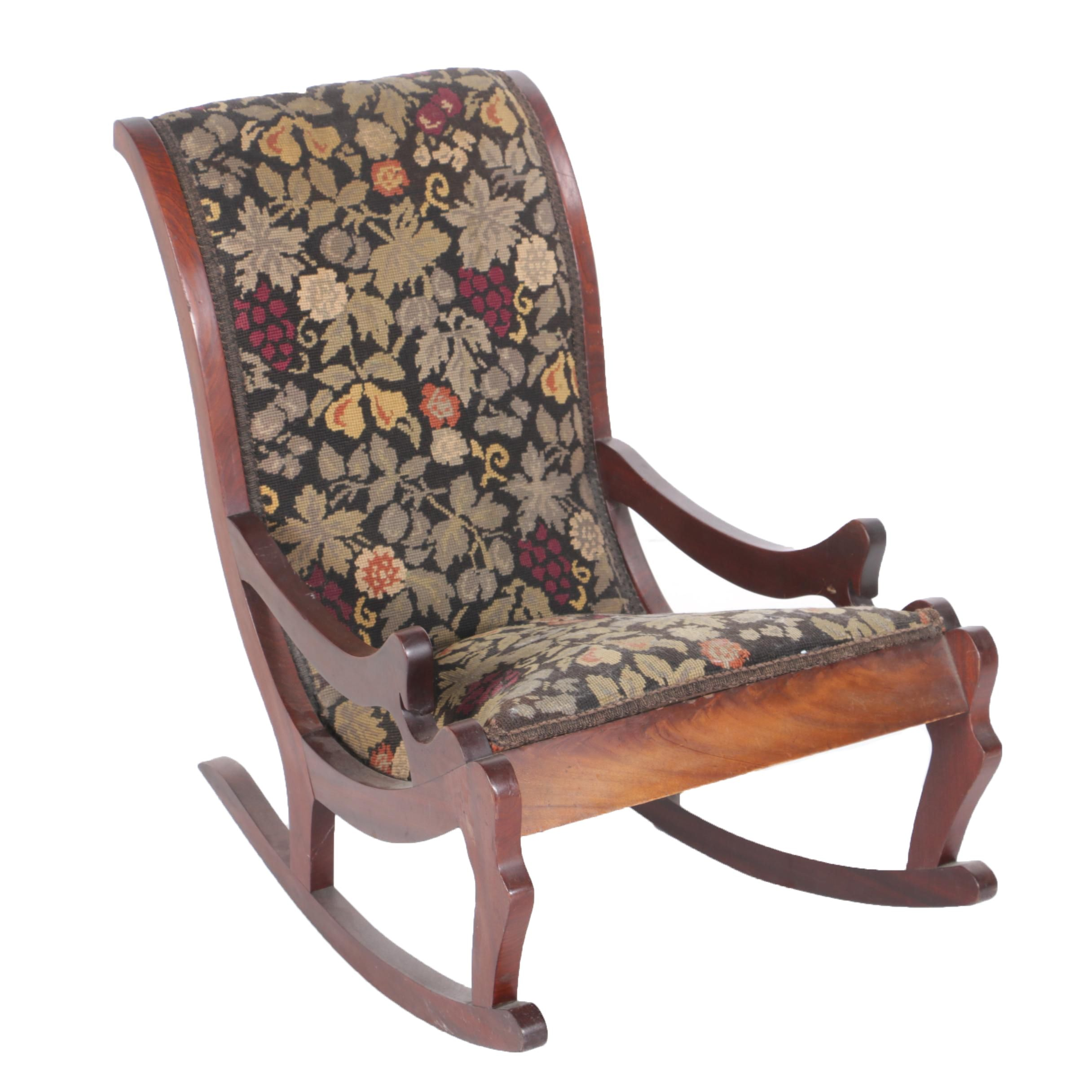 Vintage Mahogany Diminutive Rocking Chair With Tapestry Style Upholstery ...