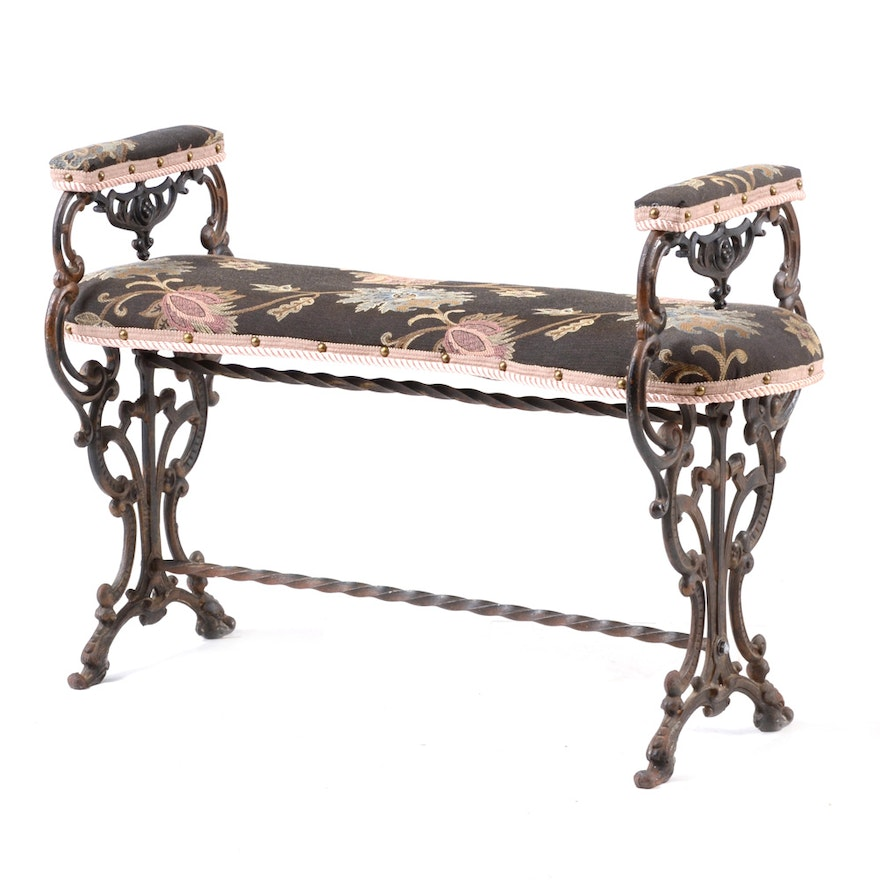 Upholstered Wrought Iron Indoor Bench