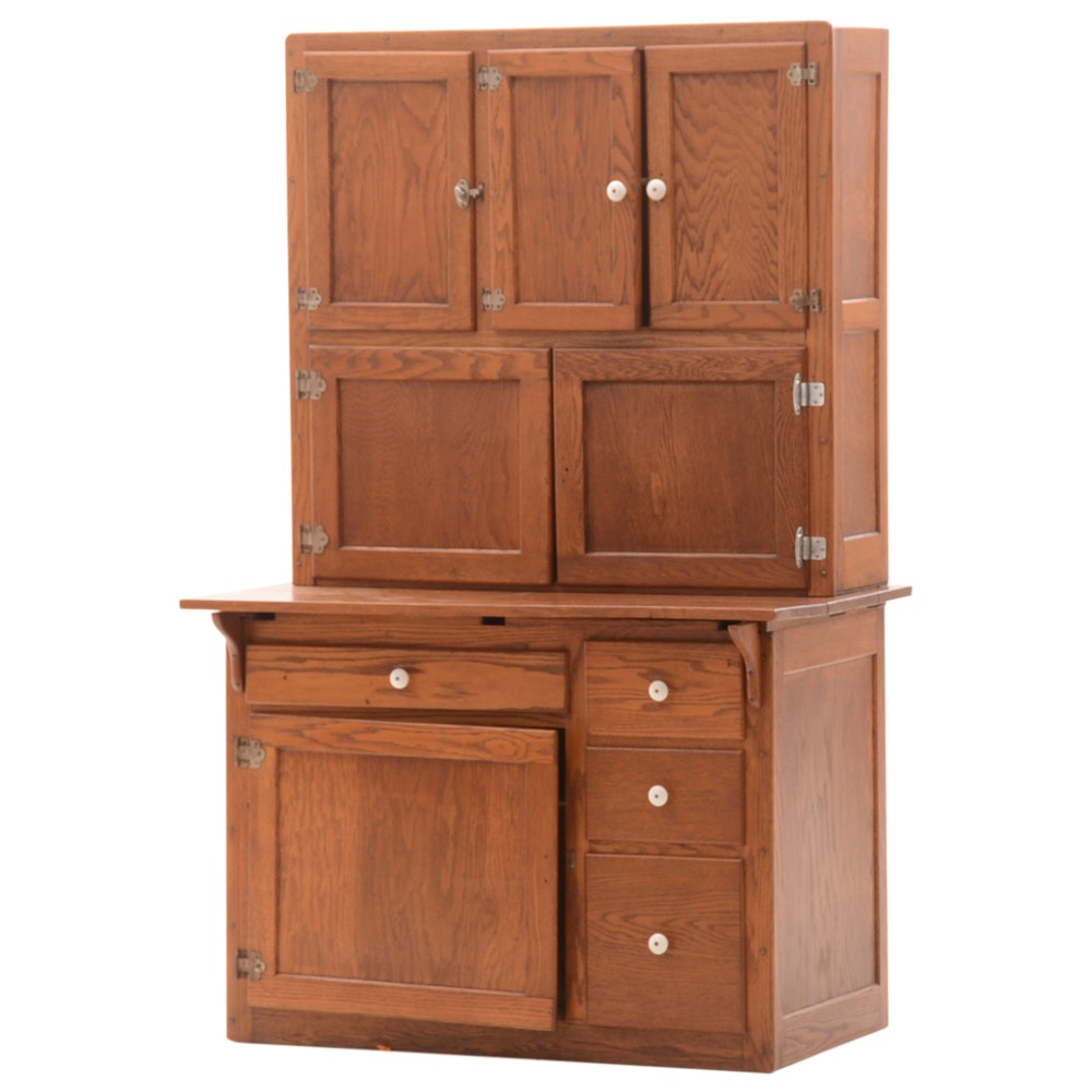 Vintage Oak Hoosier Cabinet ...  sc 1 st  EBTH.com & Vintage Oak Hoosier Cabinet : EBTH