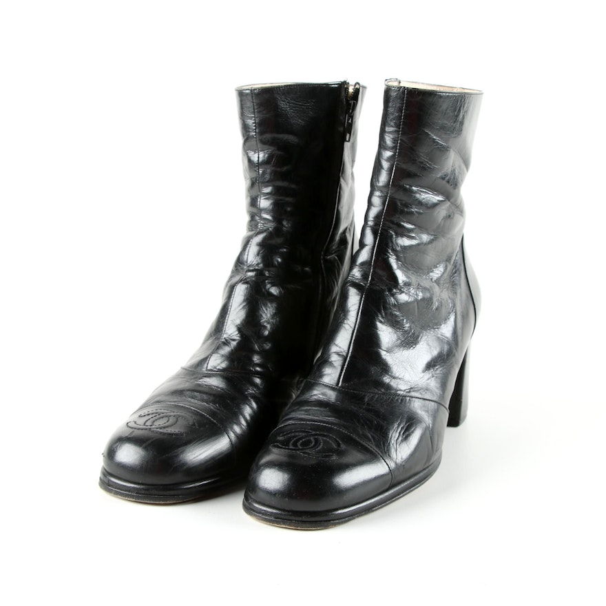 62ccddadf085 Women s Chanel Black Leather Cap Toe Boots   EBTH