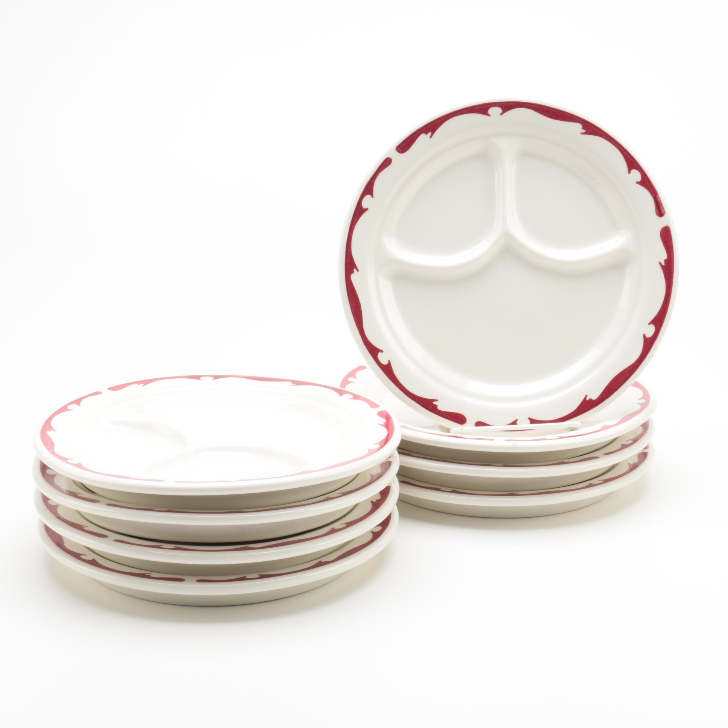 Vintage Buffalo Pottery Divided Dinner Plates with Red Crest Border 1950s ...  sc 1 st  EBTH.com & Vintage Buffalo Pottery Divided Dinner Plates with Red Crest Border ...