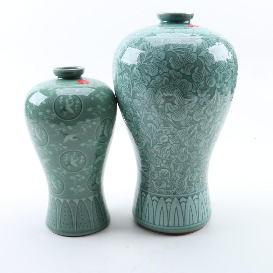 Korean Celadon Plum Vases Ebth