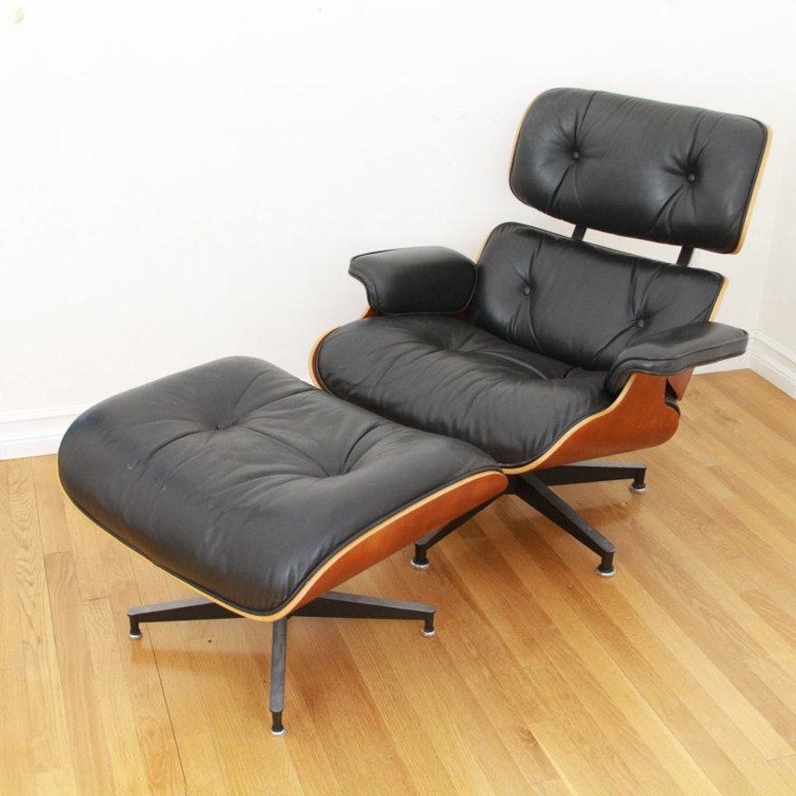 vintage charles eames lounge chair and ottoman by herman miller ebth. Black Bedroom Furniture Sets. Home Design Ideas