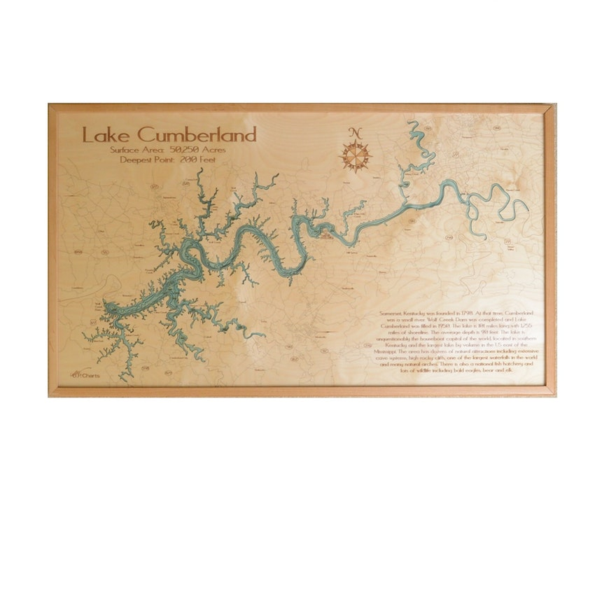 Framed Wood Map of Lake Cumberland : EBTH