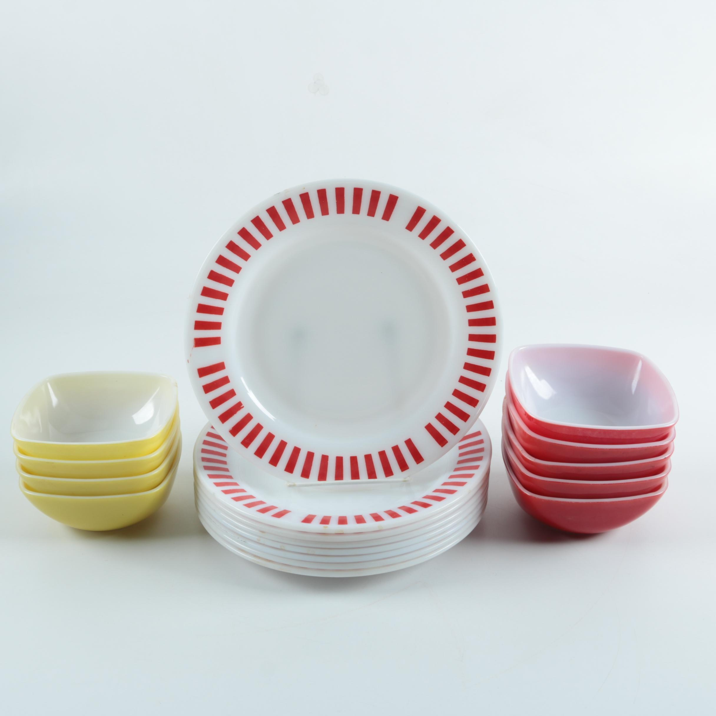 Hazel Atlas \ Candy Stripe\  Plates with Pyrex \ Primary Colors\  Square Bowls 1950s; 1x1; 1x1; 1x1; 1x1 ...  sc 1 st  EBTH.com & Hazel Atlas \