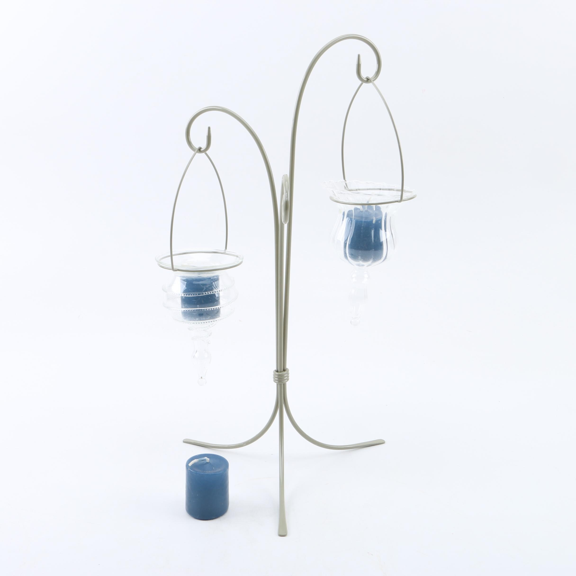 Metal and Glass Standing Candle Holders
