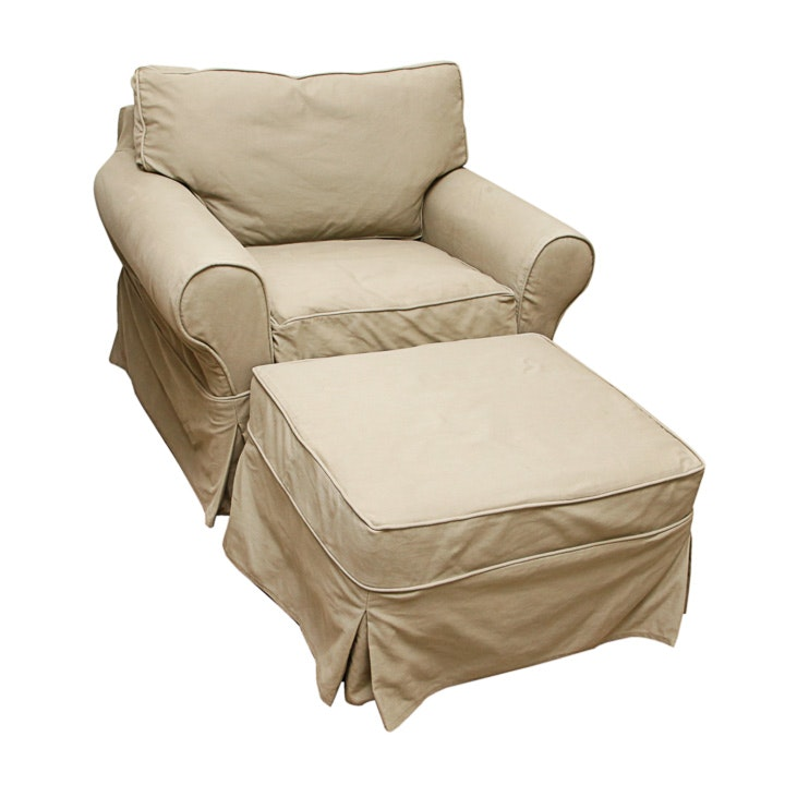Oversized Chair and Ottoman with Pottery Barn Slipcovers