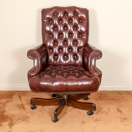 Georgian Style Faux Leather Rolling Office Chair ...