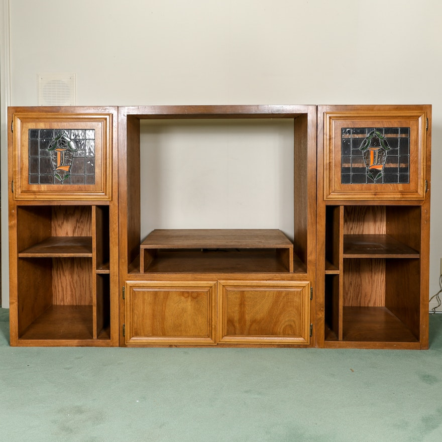 Wood Media Storage Cabinet With Leaded Glass Doors Ebth