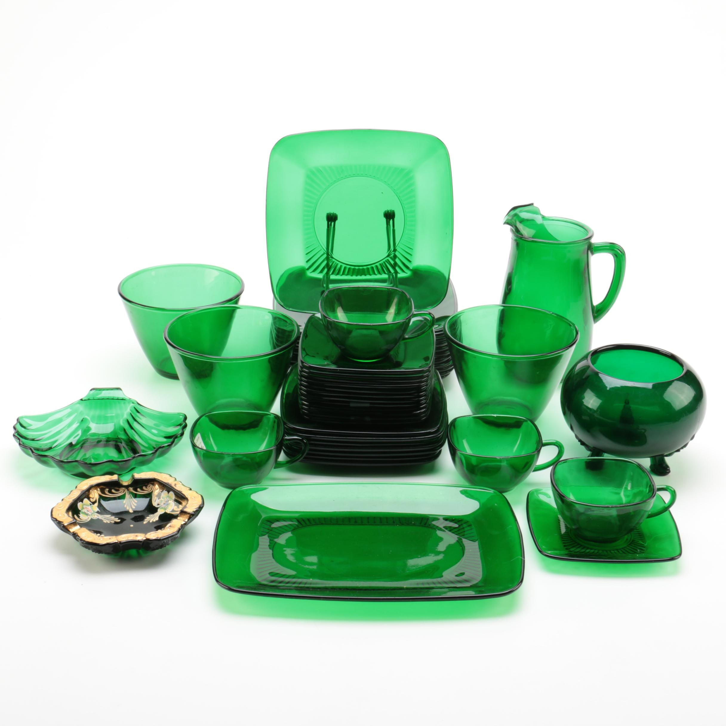 """Anchor Hocking """"Charm Forest Green"""" Glass Tableware"""