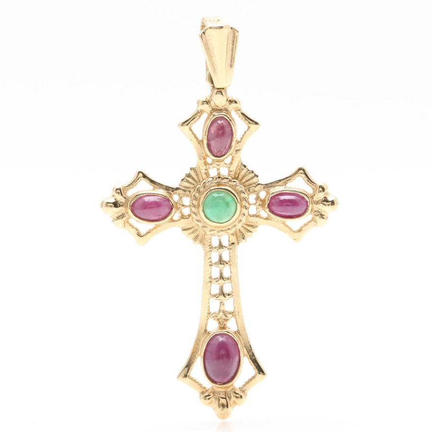 14k yellow gold emerald and ruby cross pendant ebth 14k yellow gold emerald and ruby cross pendant aloadofball Choice Image