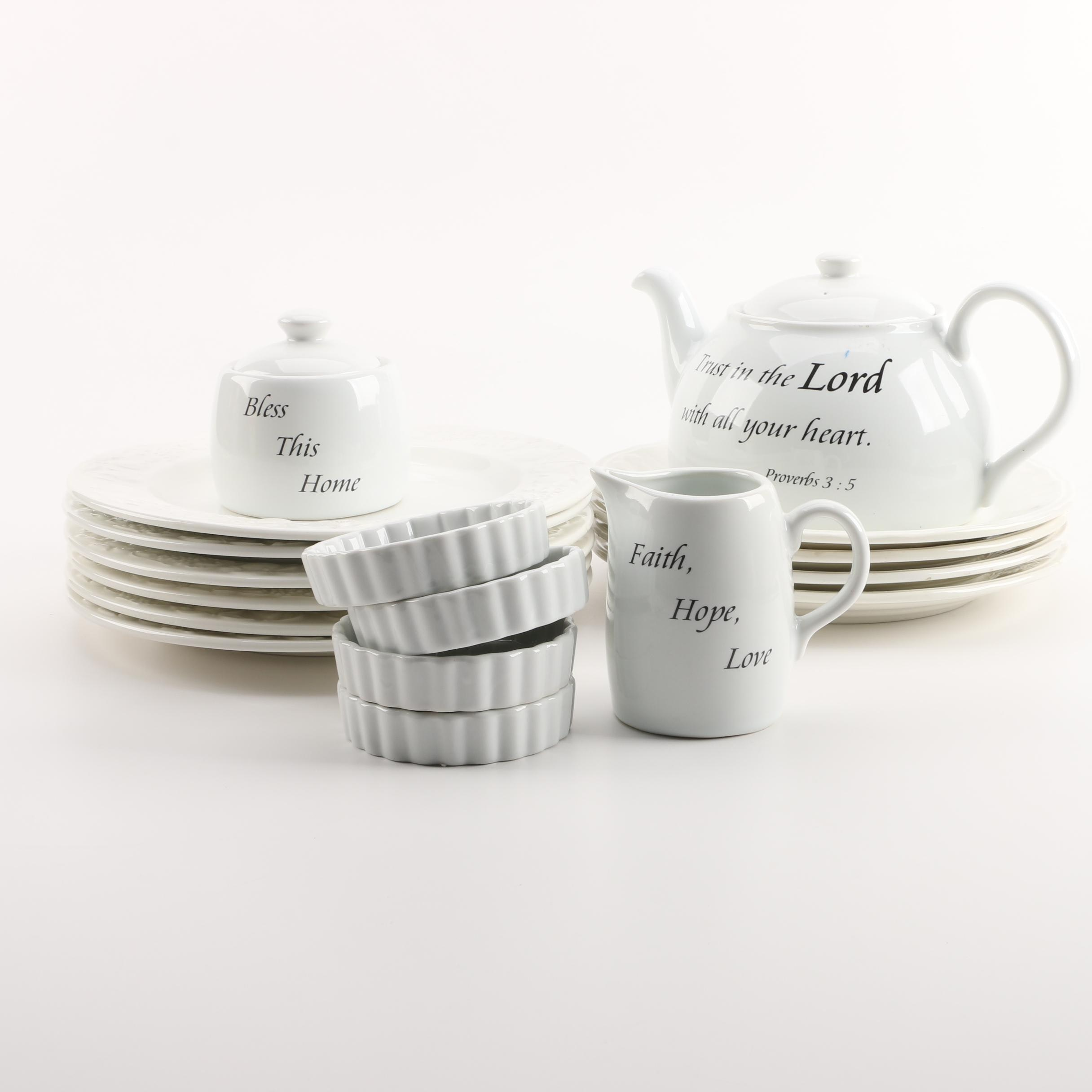 White Dinnerware Including Coventry \ Daily Blessings\  and Crate \u0026 Barrel ... & White Dinnerware Including Coventry \