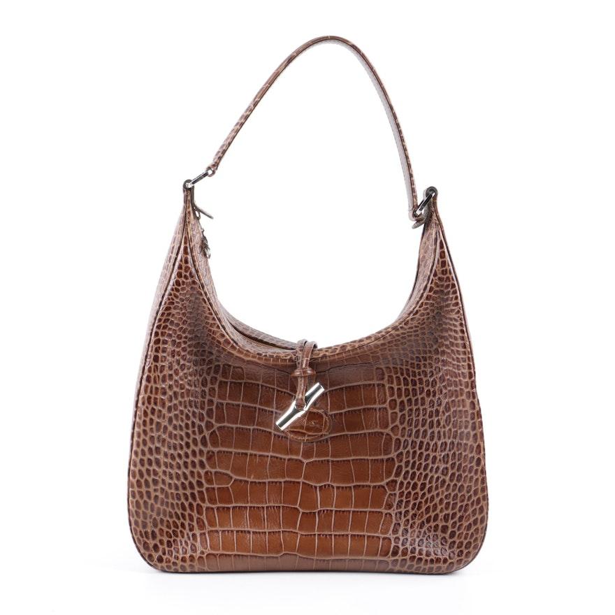 Longchamp Roseau Crocodile Embossed Leather Hobo Bag