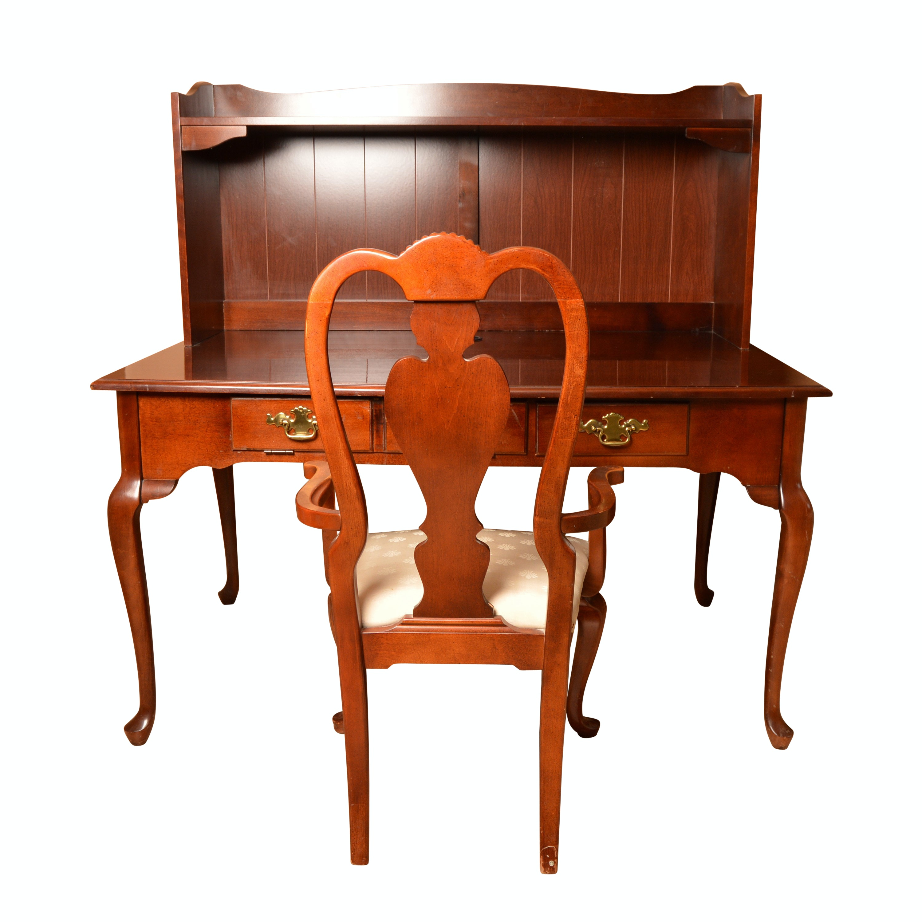 Queen Anne Style Writing Desk Armchair by Bassett ...  sc 1 st  EBTH.com & Queen Anne Style Writing Desk Armchair by Bassett : EBTH