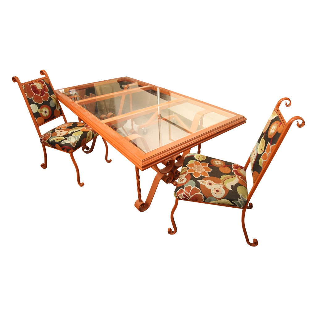 Orange Metal Glass Top Dining Table with Two Chairs