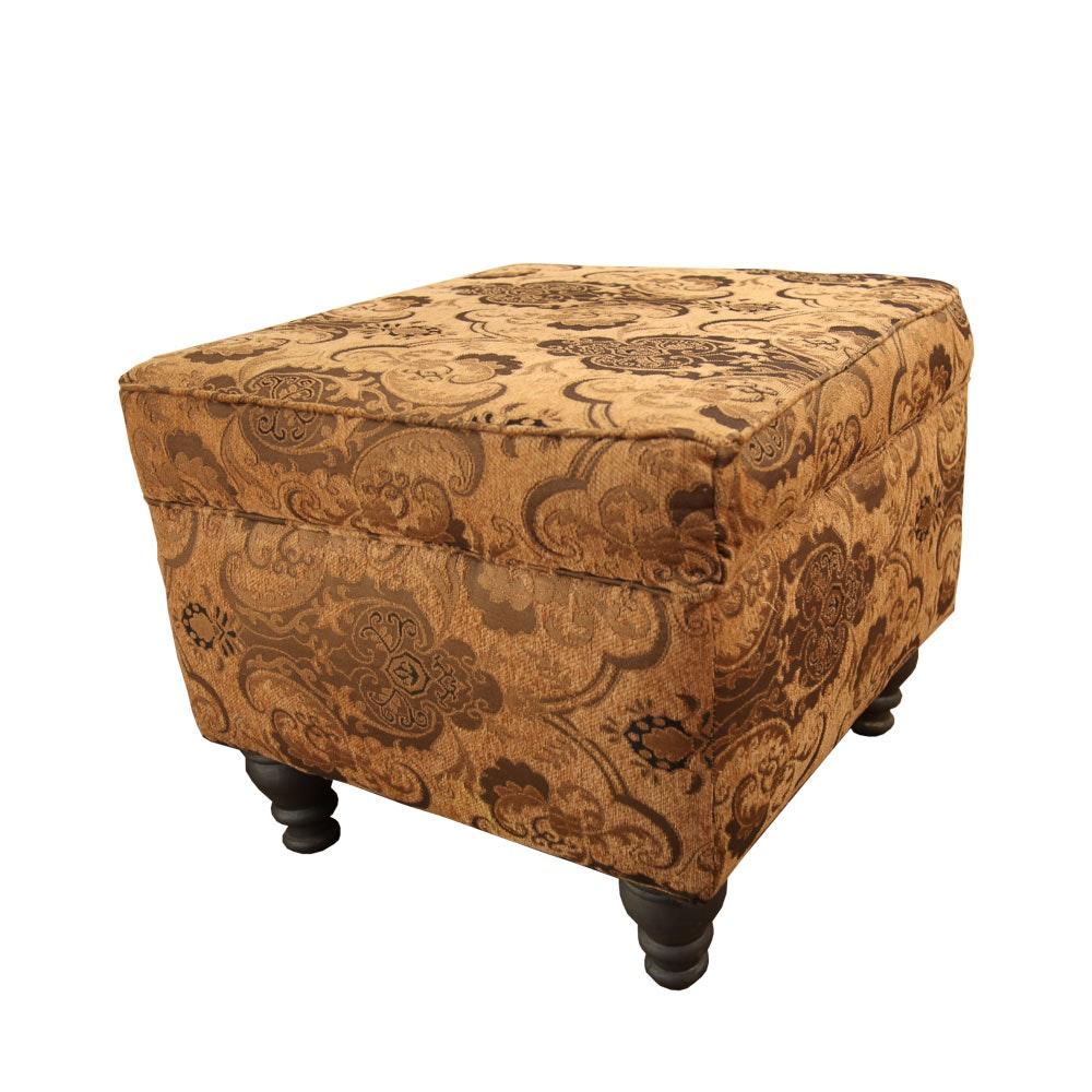 Tan and Brown Upholstered Ottoman