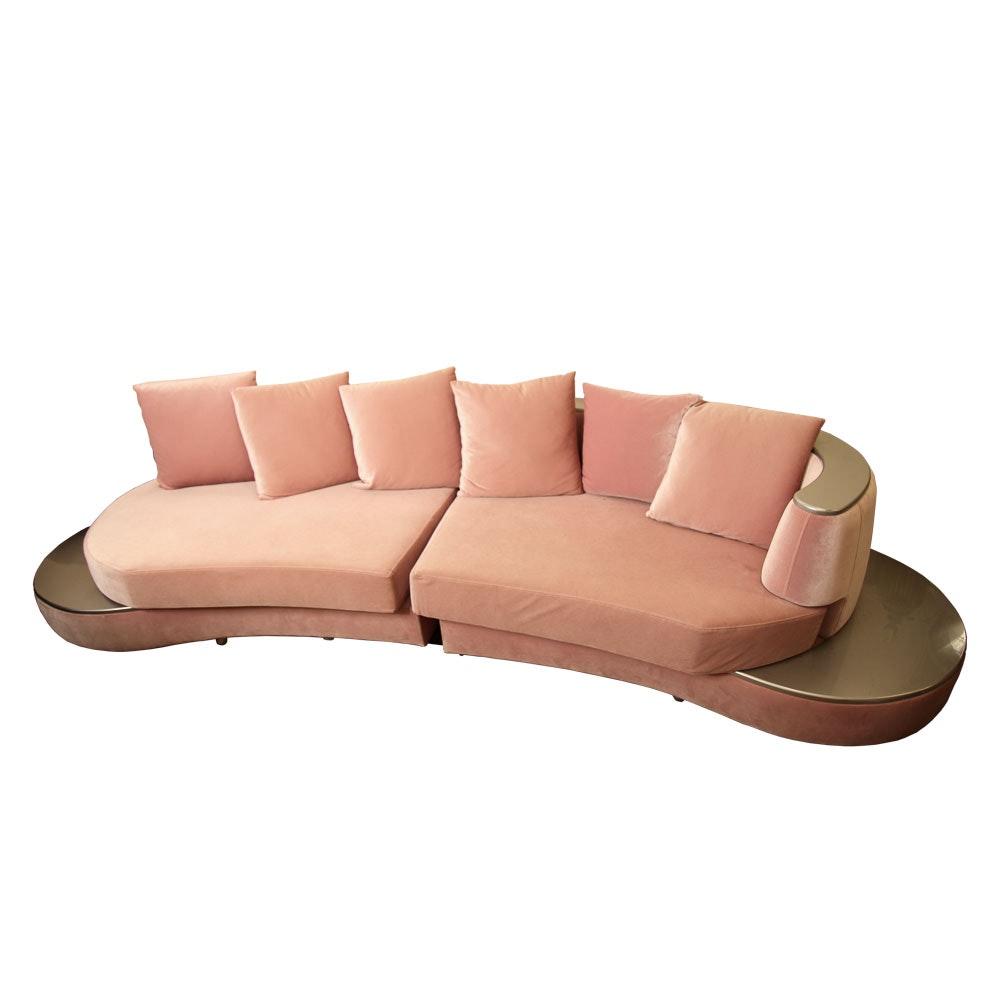 Pink Rose Velvet Hollywood Regency Style Sectional Divan