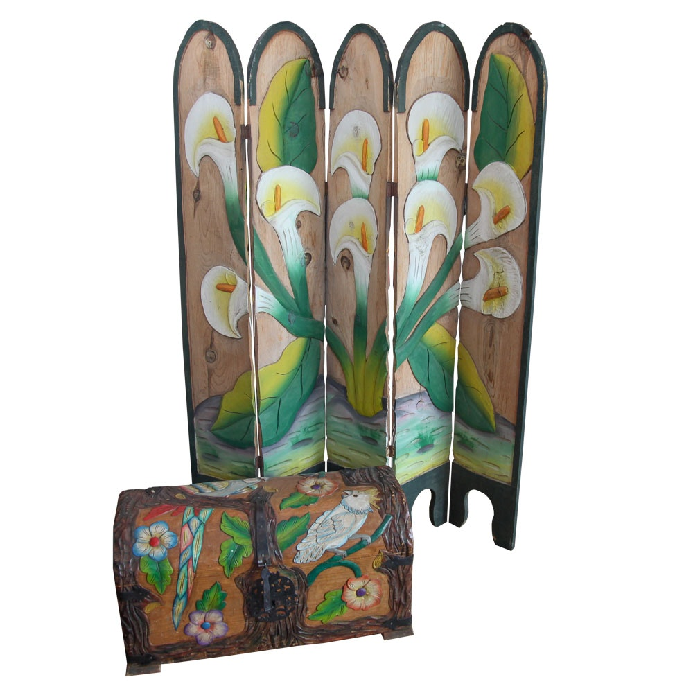 Hand-Carved and Painted Mexican Folding Screen and Chest