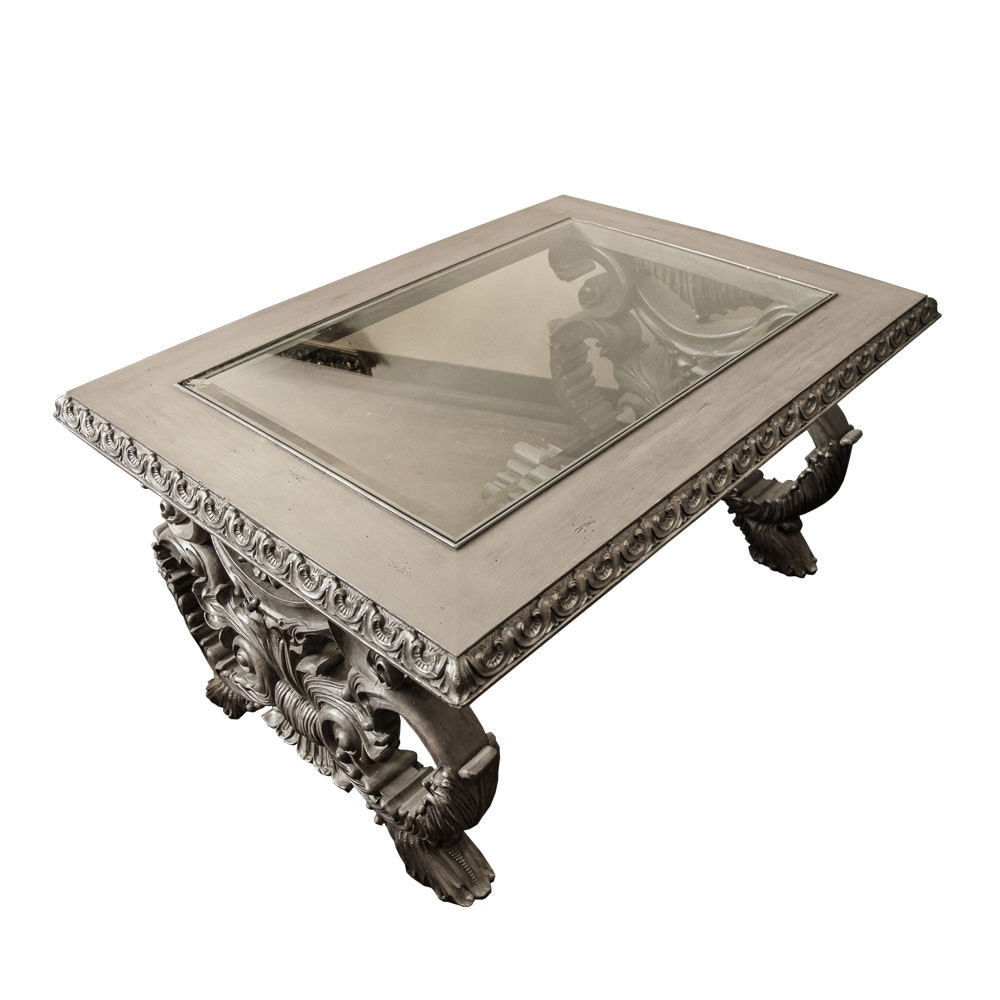 Silver French Rococo Style Cocktail Table