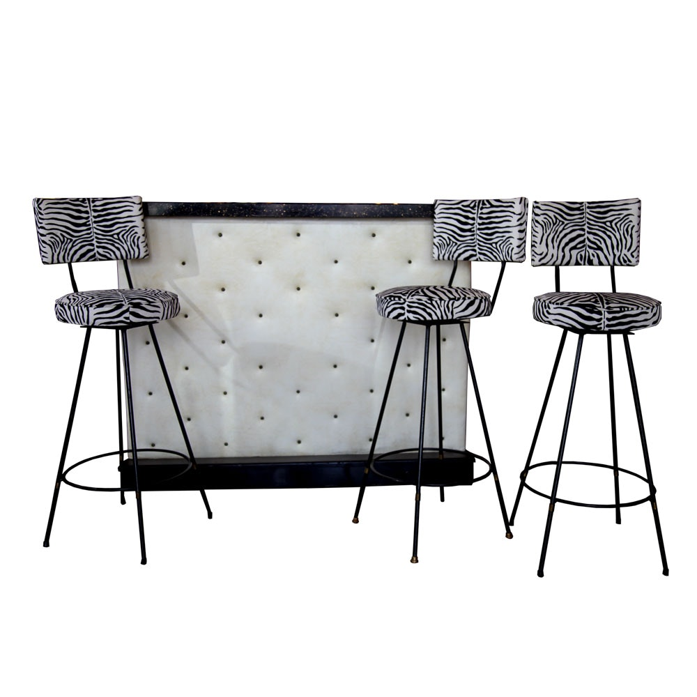 Vintage Vinyl Tufted Bar with Zebra Print Swivel Barstools after Arthur Umanoff