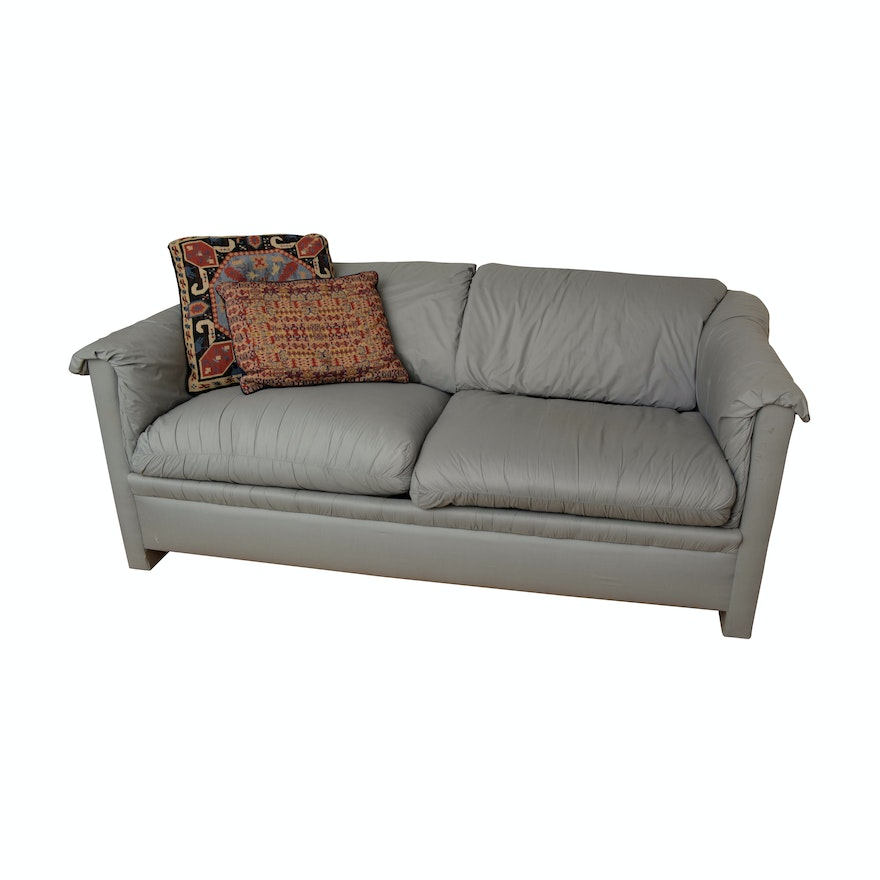 Gray Upholstered Sleeper Sofa By Sealy