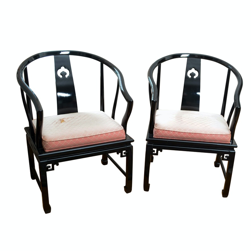 pair of lacquered chinese style armchairs by century chair co ebth