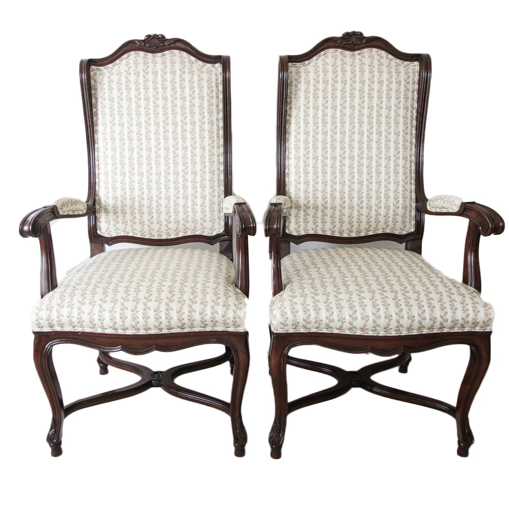 French Provincial Style Upholstered Armchairs