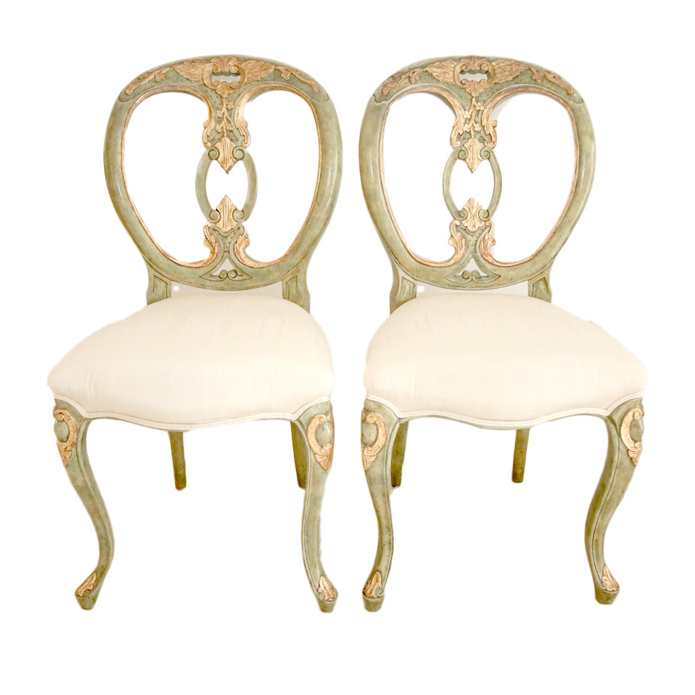 Pair of Vintage French Provincial Style Painted Chairs