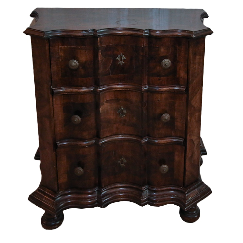Vintage Wooden Chest of Three Drawers with Decorative Lined Interiors