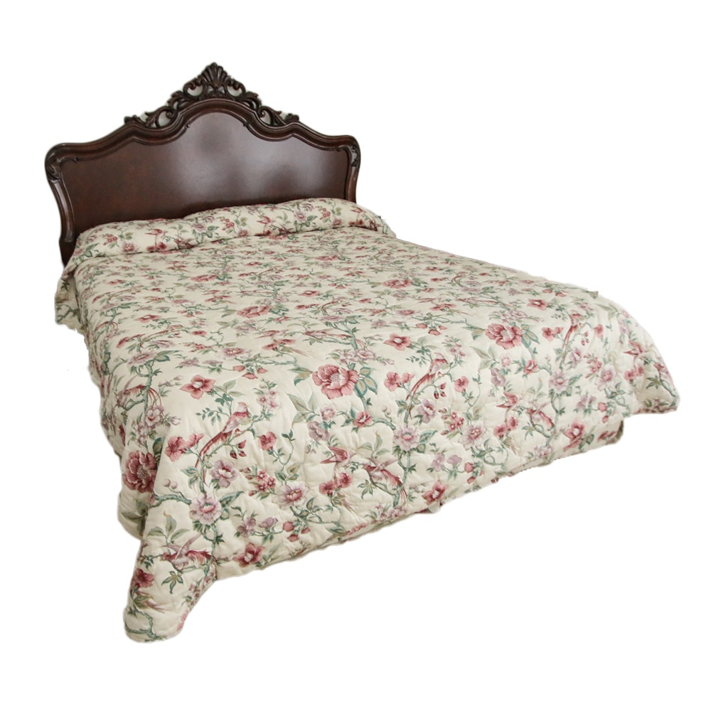 Vintage Carved King Size Wood Headboard with Bed Frame