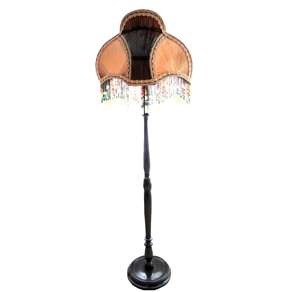 Wooden Floor Lamp with Antique Beaded Lamp Shade