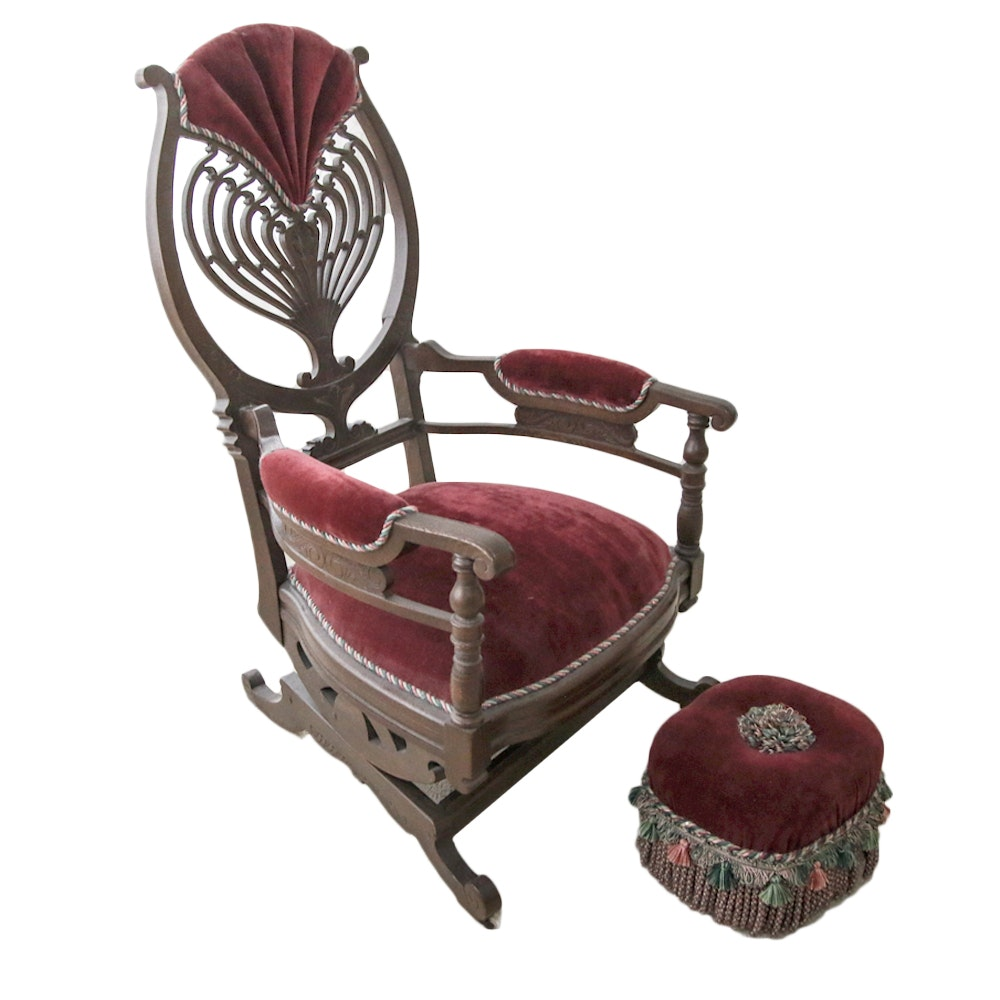 Antique Victorian Rocking Chair and Pouf