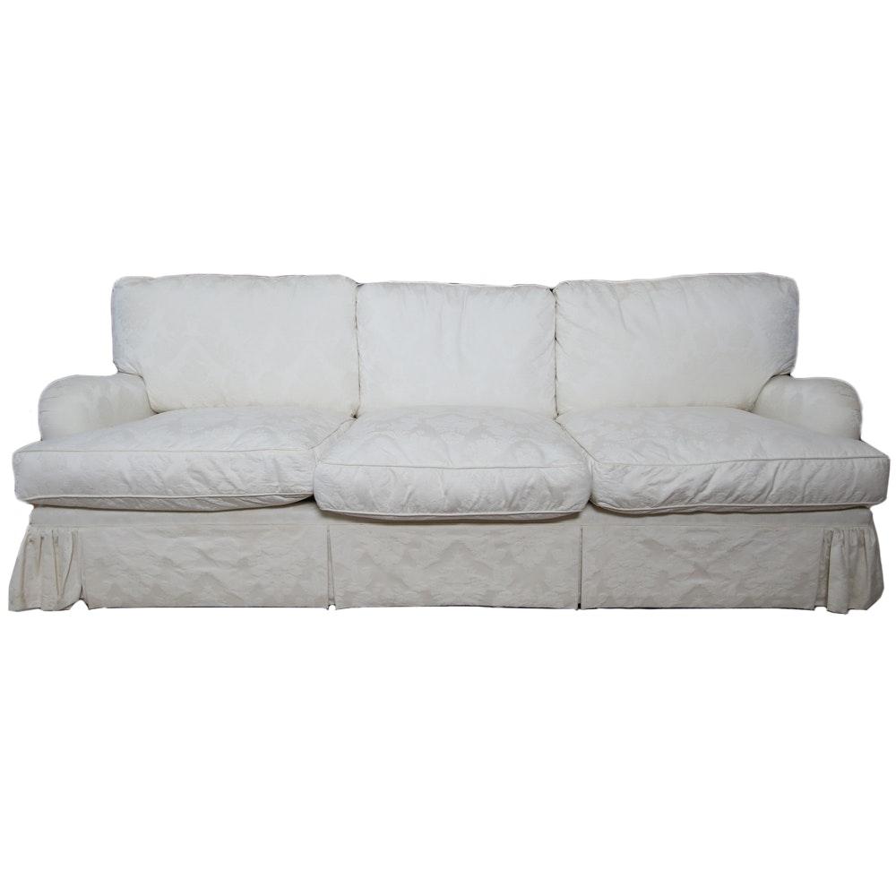 White Floral Pattern Upholstered Sofa