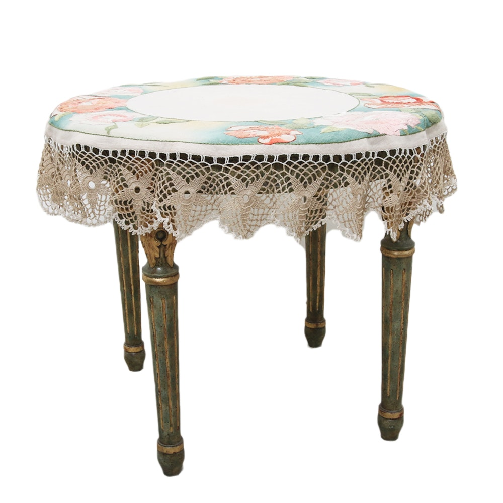 Vintage Louis XVI Style Side Table with Glass Top and Table Cloth