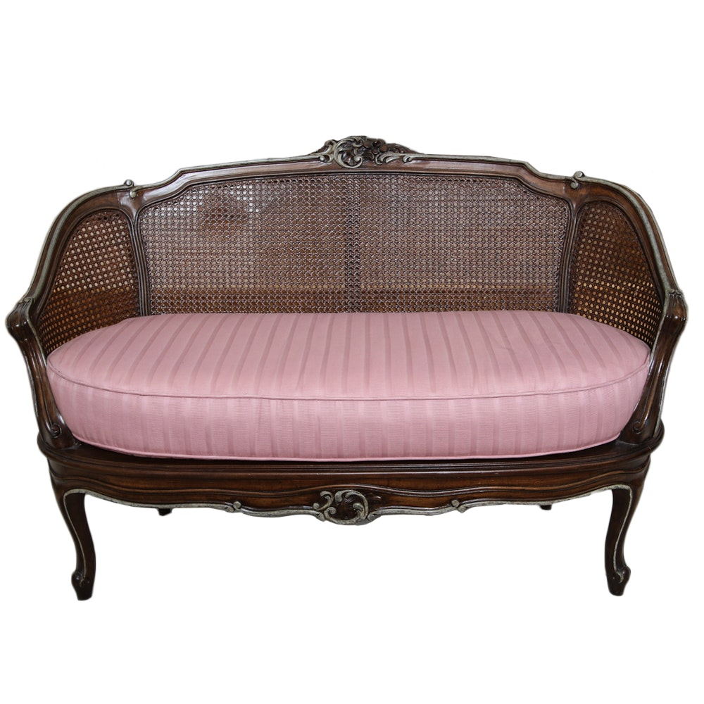 Vintage French Provincial Style Caned Settee