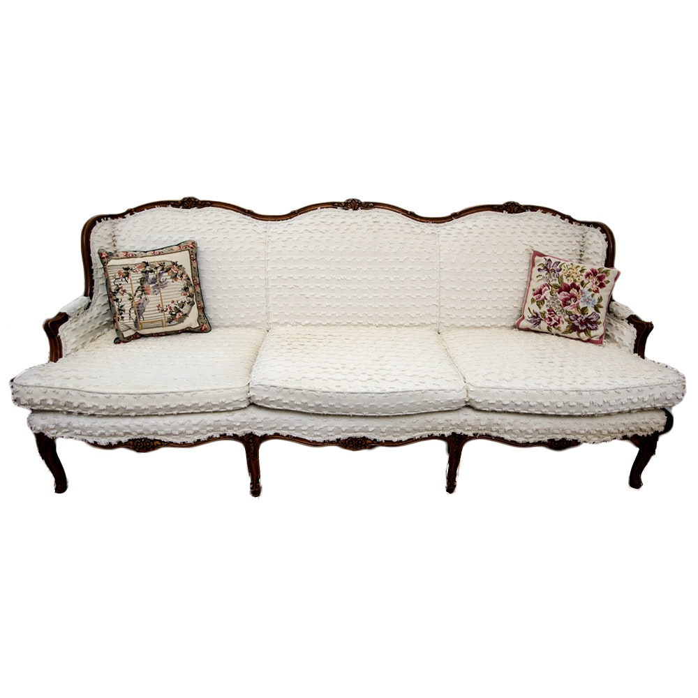 Antique Louis XV Style Re-Upholstered Sofa with Cushions