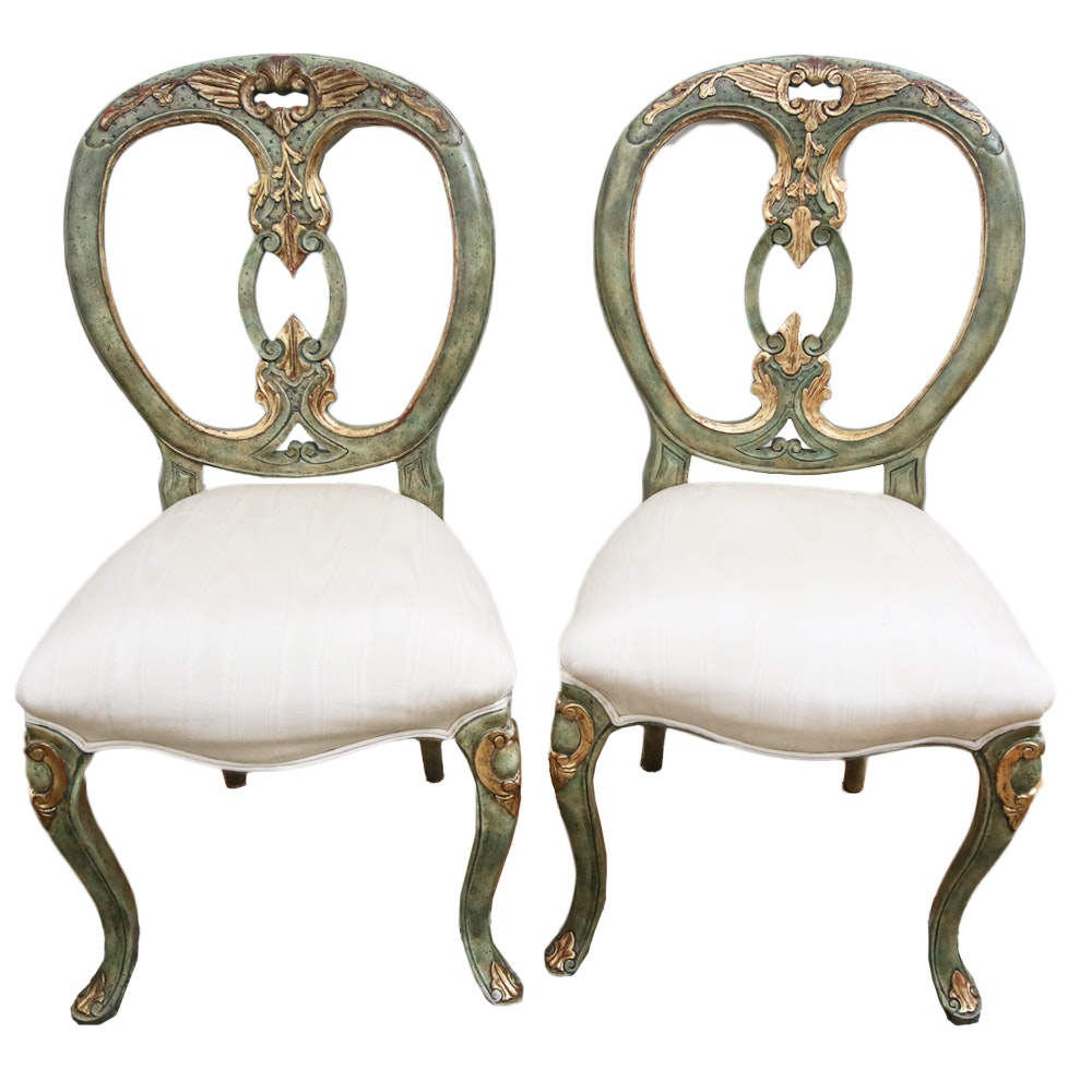 Pair of Vintage Carved Balloon Back Chairs