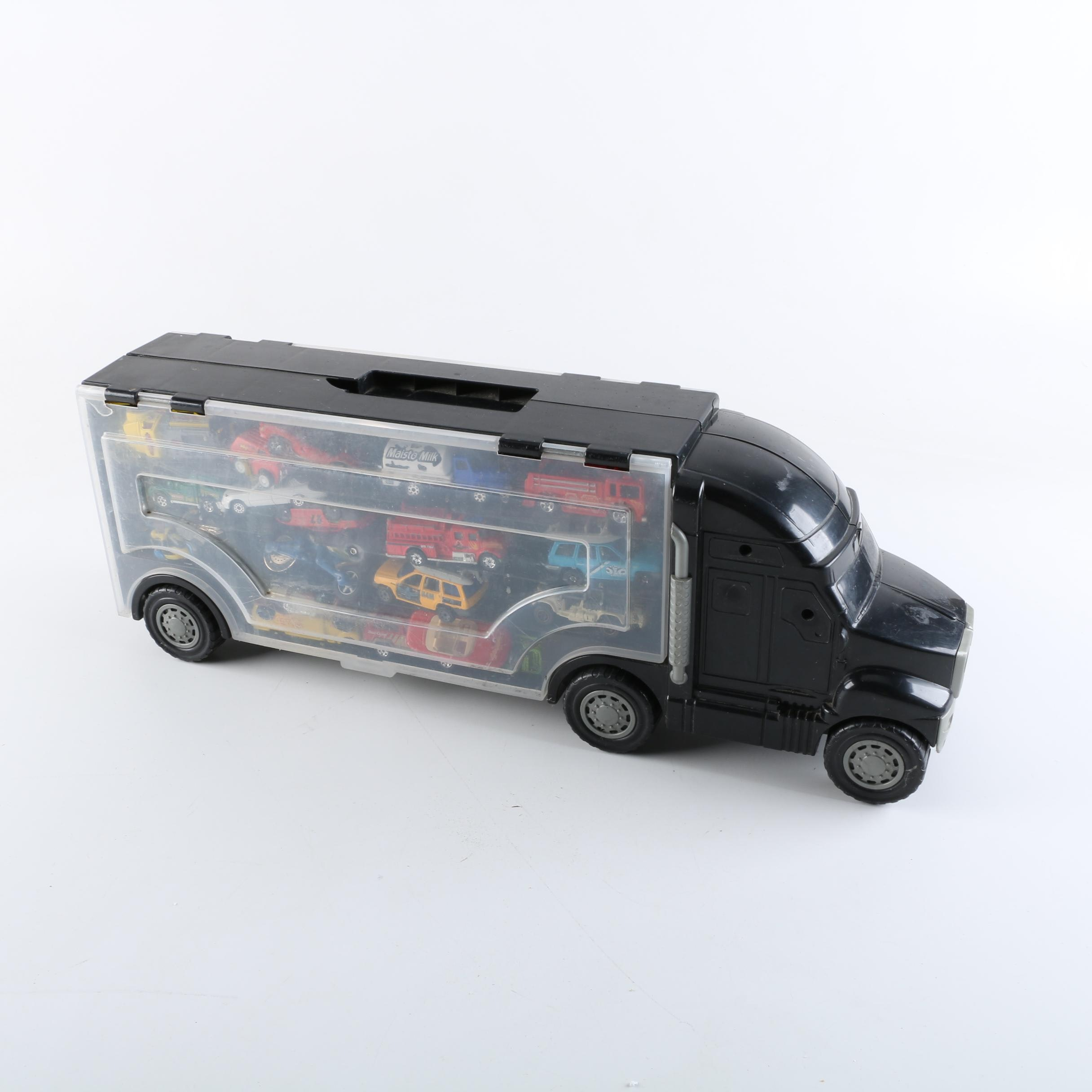 Semi Truck Car Transporter Storage Case With Matchbox And Hot Wheels Cars  ...